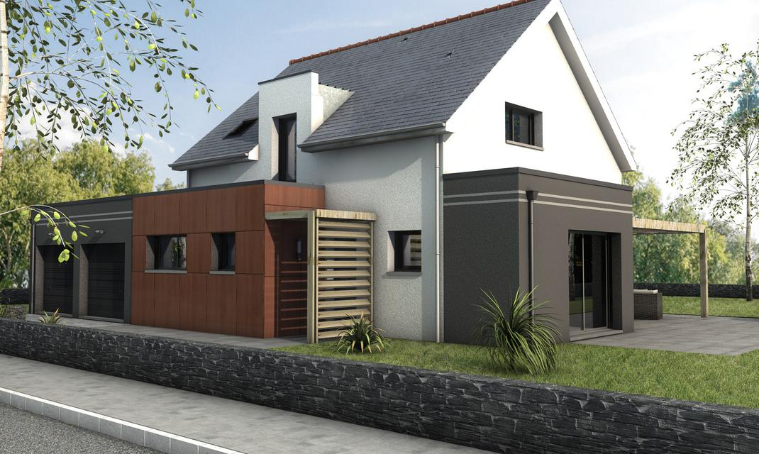 Maison contemporaine sur mesure 44 56 85 depreux for Construction garage double