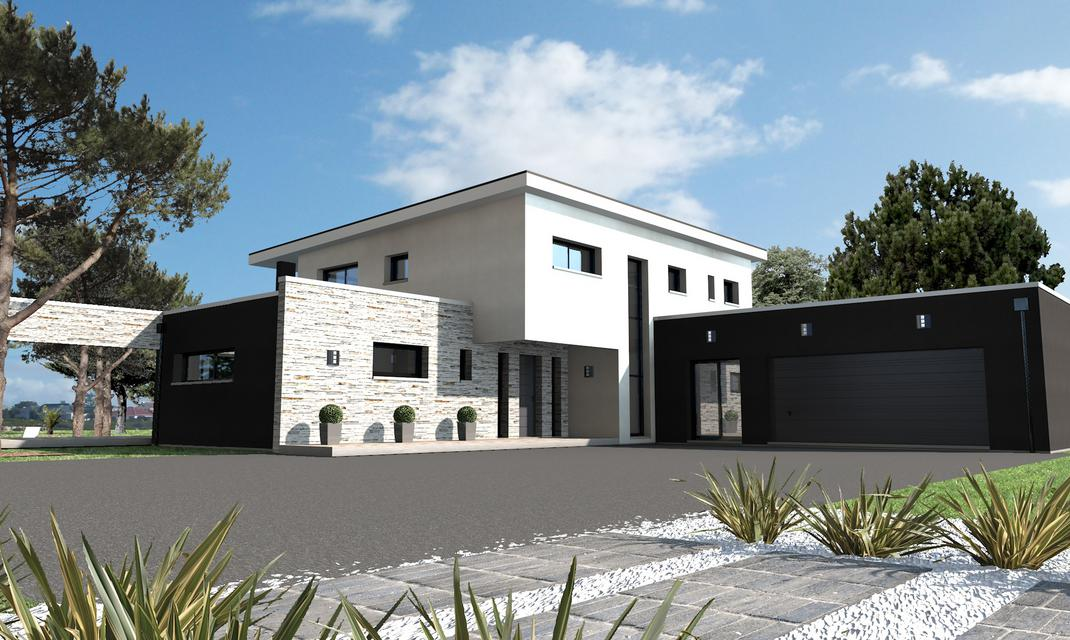 Maison design habillage pierre vertou depreux construction for Architecture maison style americain