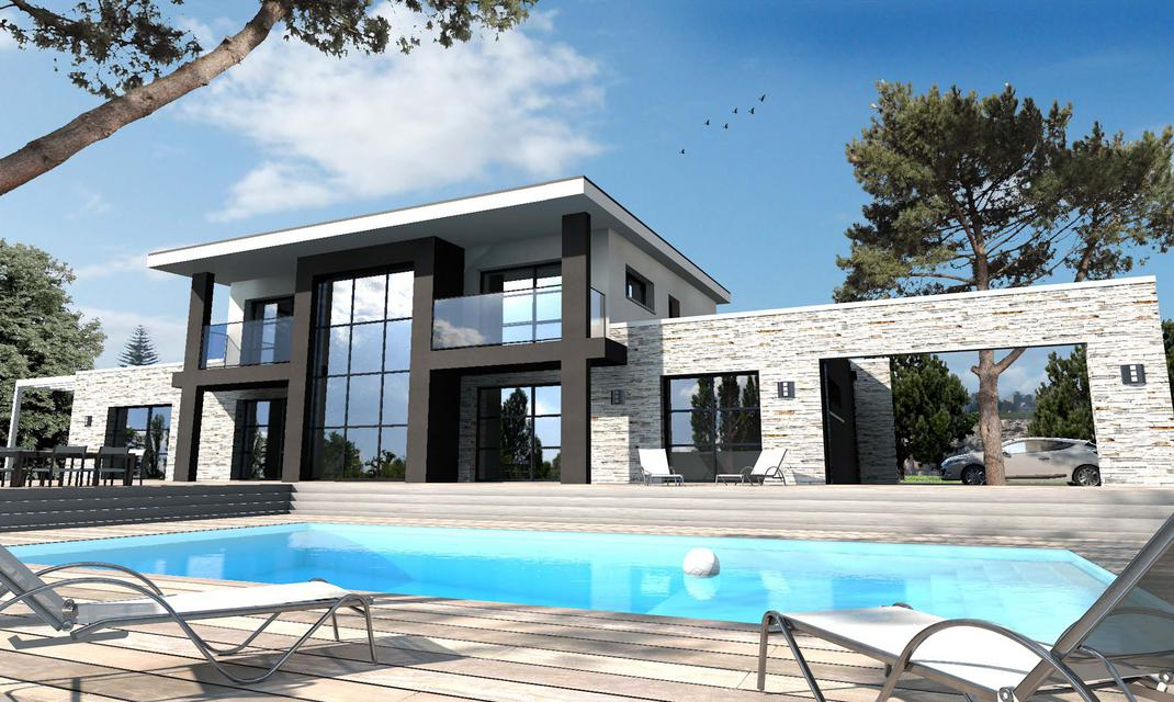 Stunning maison pierre moderne contemporary awesome for Maison contemporaine construction