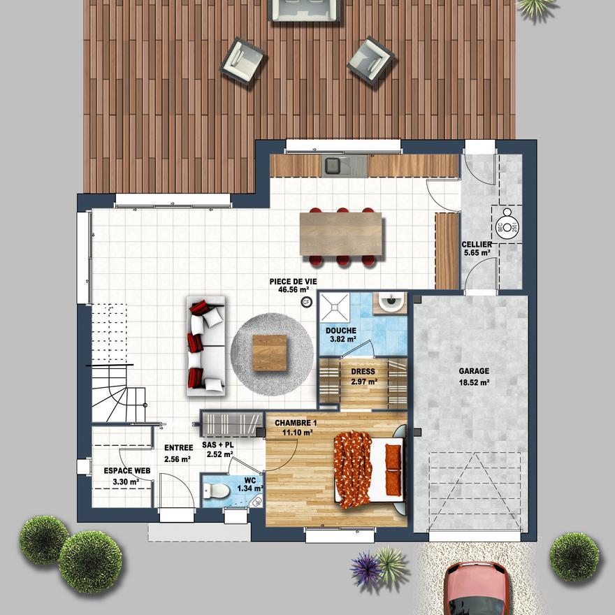 Maison contemporaine mezzanine Carnac - Depreux Construction