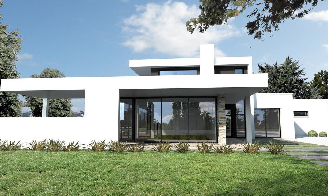 Maison ultra moderne noir et blanc nantes depreux construction for Maison a etage moderne
