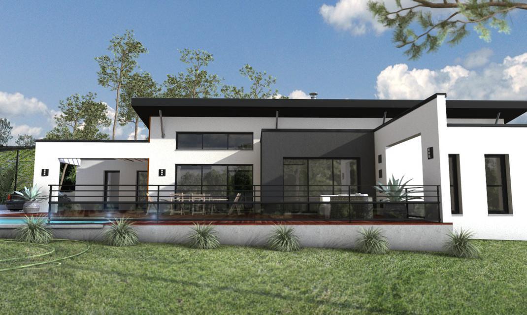 Maison moderne toiture monopente carquefou depreux for Plan toiture maison
