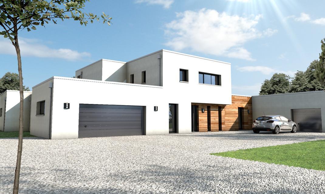 Maison moderne bord de mer la baule depreux construction for Maison garage double