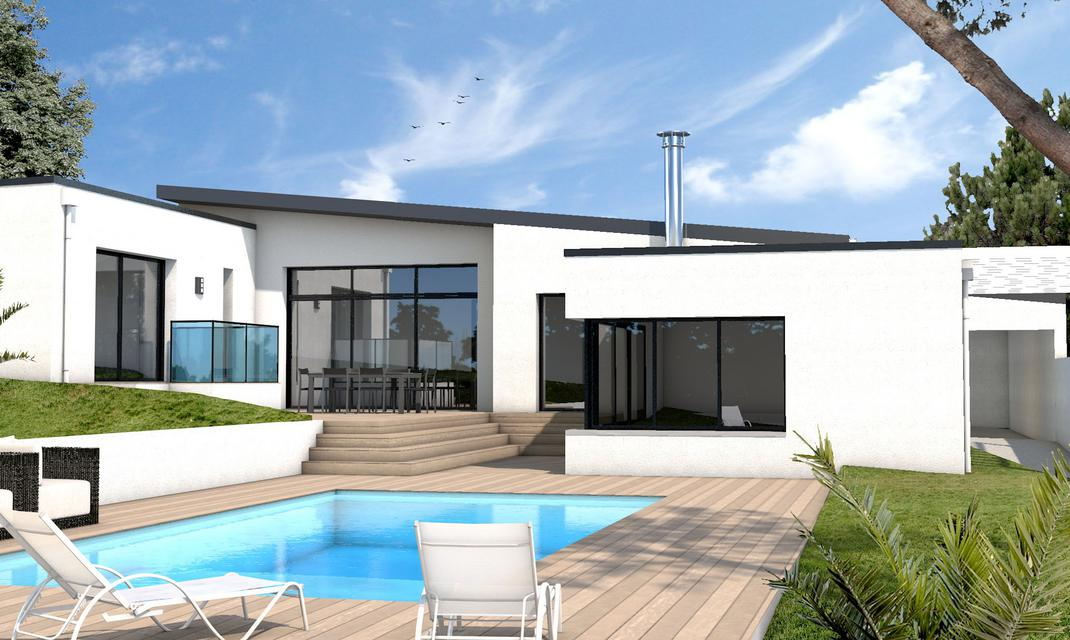 Maison moderne sur mesure 44 56 85 depreux construction for Modele maison plain pied contemporaine