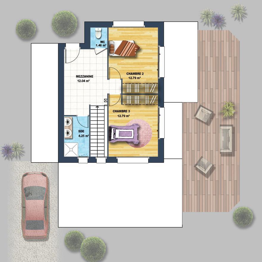 Maison cubique toiture monopente talmont st hilaire for Modele maison cubique