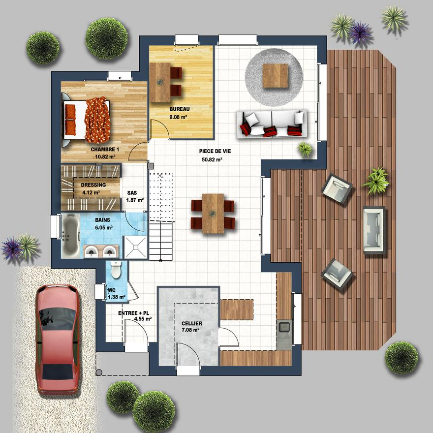 Plan maison cube a etage amazing lire la suite with plan for Plan maison cube etage