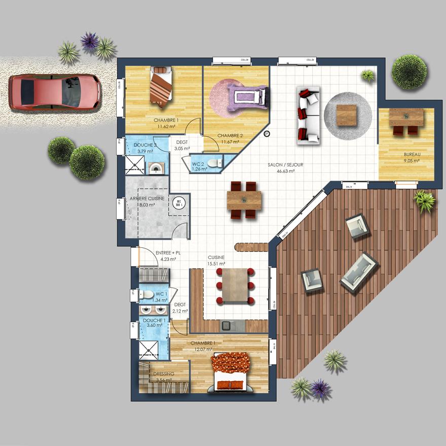 maison contemporaine en l rez depreux construction. Black Bedroom Furniture Sets. Home Design Ideas
