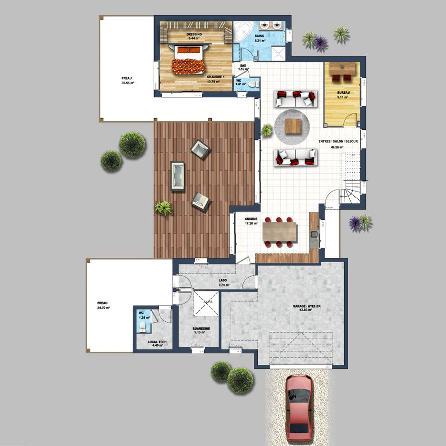 Home Design 3d 2 Etage: Maison En U Avec Piscine Les Sables D'Olonne