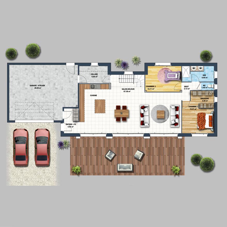 Plans. Caractéristiques. Chambres. 5