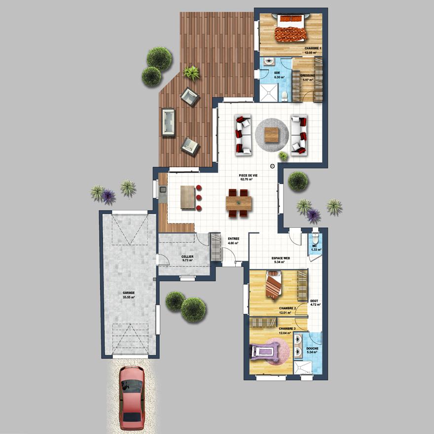 plan de maison bord de mer