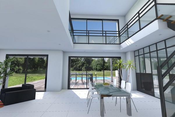Vide sur s jour et d plafonn pour une maison moderne depreux construction - Interieur maison cubique ...