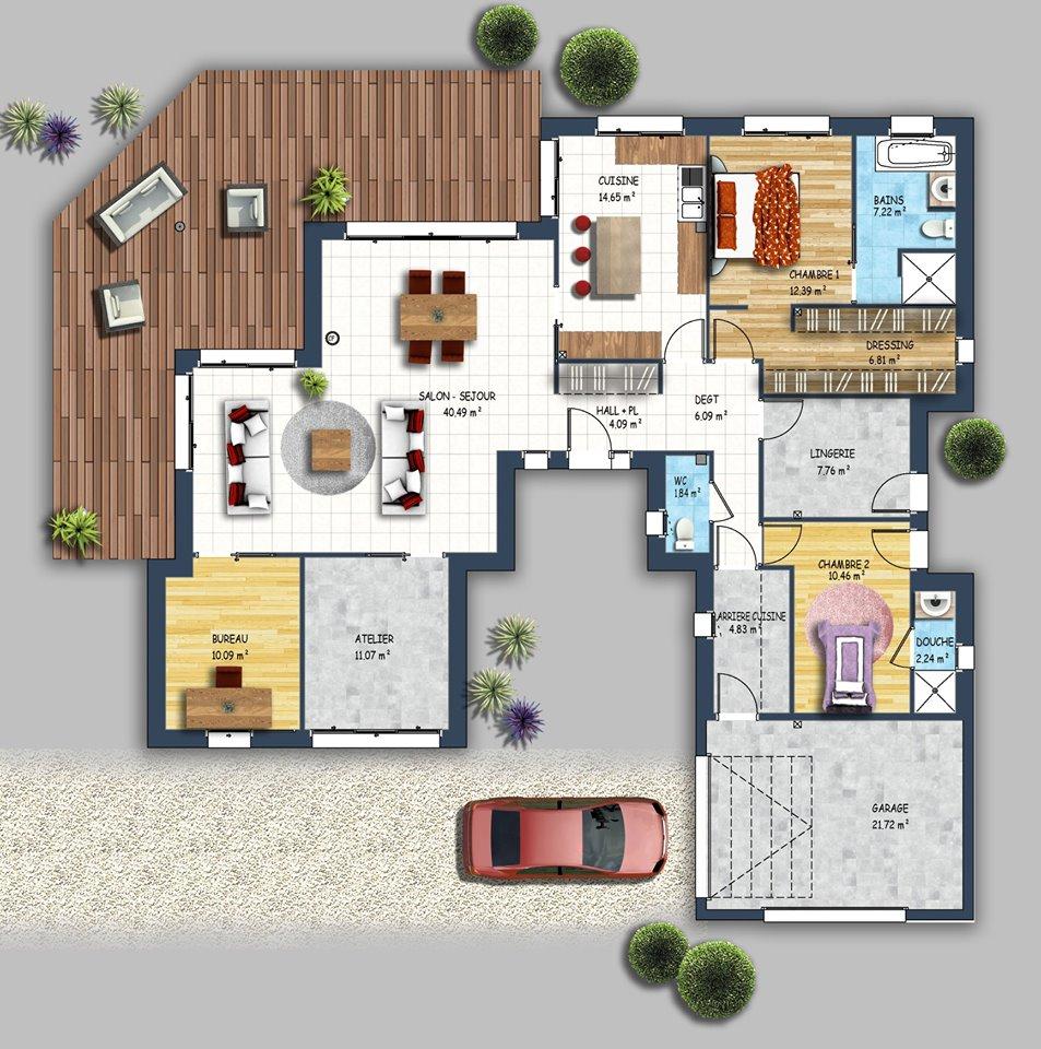 Plan De Maison Grande Demeure Avec Terrasse