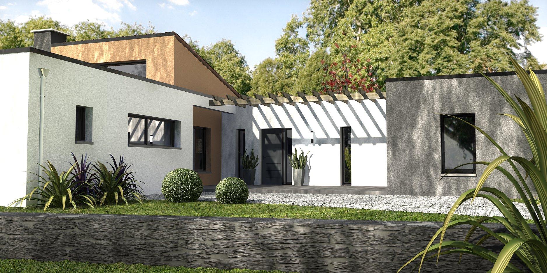 entree-maison-moderne-porche - Depreux Construction